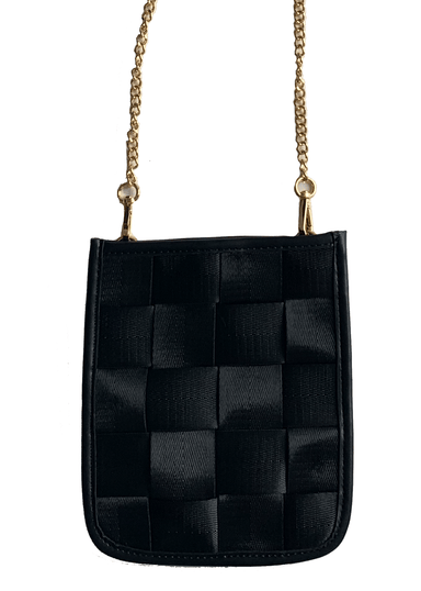 Ahdorned Handbags Black w\/Gold Chain Ahdorned Small Woven Cross Body Bag w/Chain