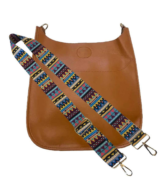Ahdorned Handbags Ahdorned Soft Faux Leather Classic Messenger with Multi Color Strap Strap