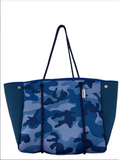 Ahdorned Handbags Ahdorned Tote Blue Camo w/Blue Perforated Sides Neoprene