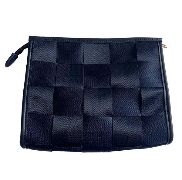 Ahdorned Handbags Ahdorned Woven Zip Top Clutch/Convertible Cross Body Bag Navy