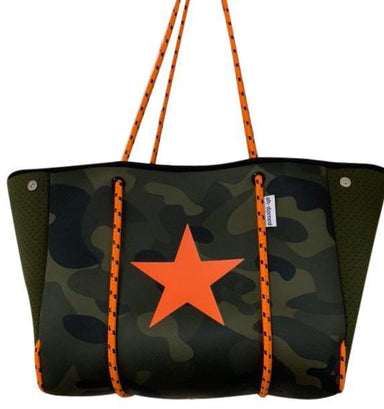 Ahdorned Handbags Army Camo with Orange Star Neoprene Tote N101AROS