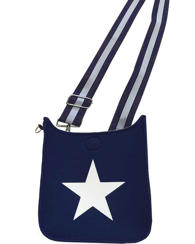 Ahdorned Handbags Navy with White Star Neoprene Messenger Camel with Navy/White Strap