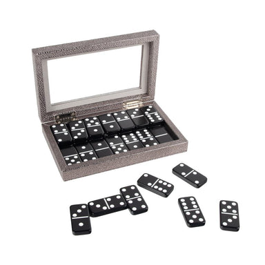 Brouk & Co Giftware Silver Onyx Domino Set