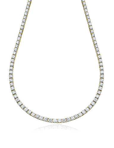 Crislu Jewelry Classic Tennis Necklace Finished in 18kt Yellow Gold - 16""