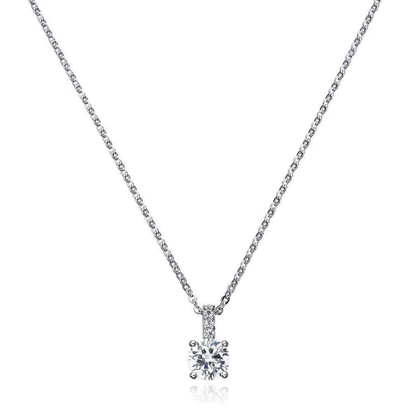 Crislu Jewelry CRISLU Accented Brilliant Pendant Finished in Pure Platinum