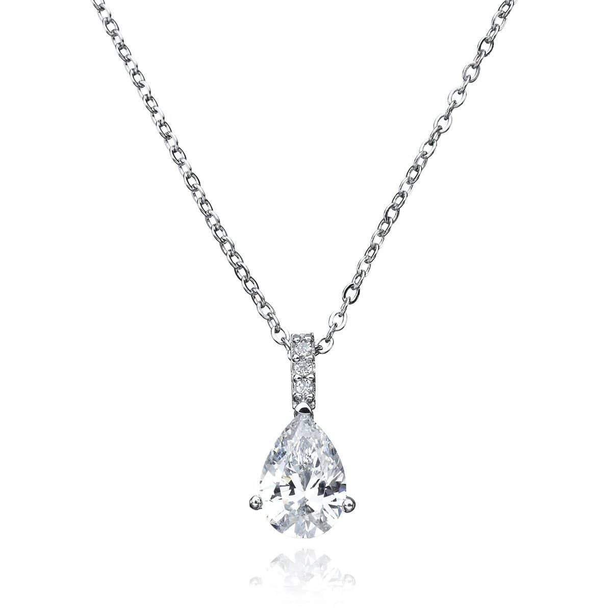 Crislu Jewelry CRISLU Accented Pear Pendant Finished in Pure Platinum