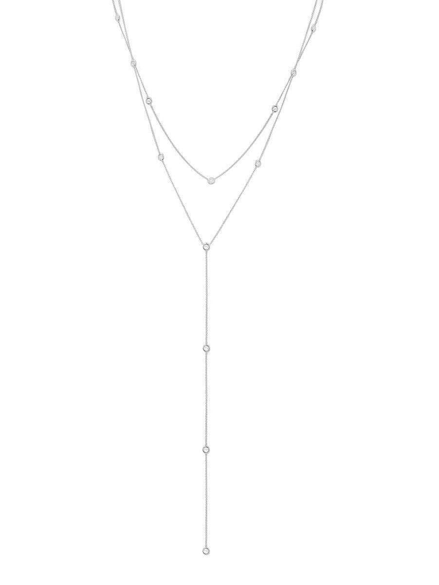 Crislu Jewelry CRISLU Adjustable Layered Y-Necklace finished in Pure Platinum