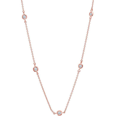 "Crislu Jewelry CRISLU Bezel 16"" Necklace Finished in 18KT Rose Gold"