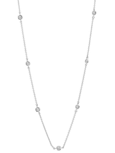 "Crislu Jewelry CRISLU Bezel 16"" Necklace Finished in Pure Platinum"