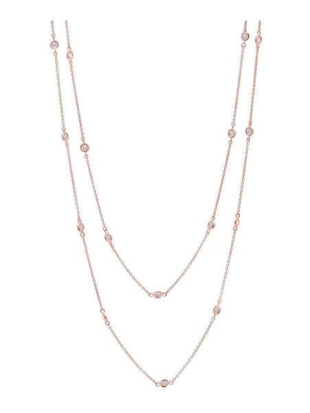 "Crislu Jewelry CRISLU Bezel 36"" Necklace Finished in 18KT Rose Gold"