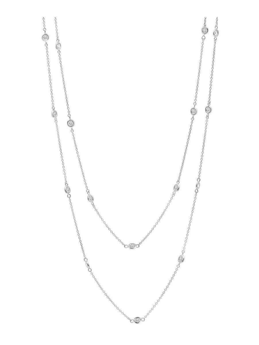"Crislu Jewelry CRISLU Bezel 36"" Necklace Finished in Pure Platinum 4mm"