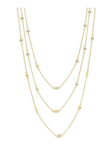 "Crislu Jewelry CRISLU Bezel 48"" Necklace Finished in 18KT Gold"