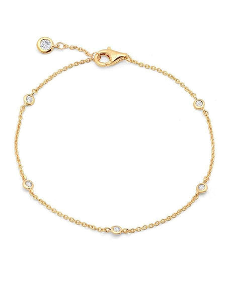 Crislu Jewelry CRISLU Bezel Bracelet Finished in 18KT Gold