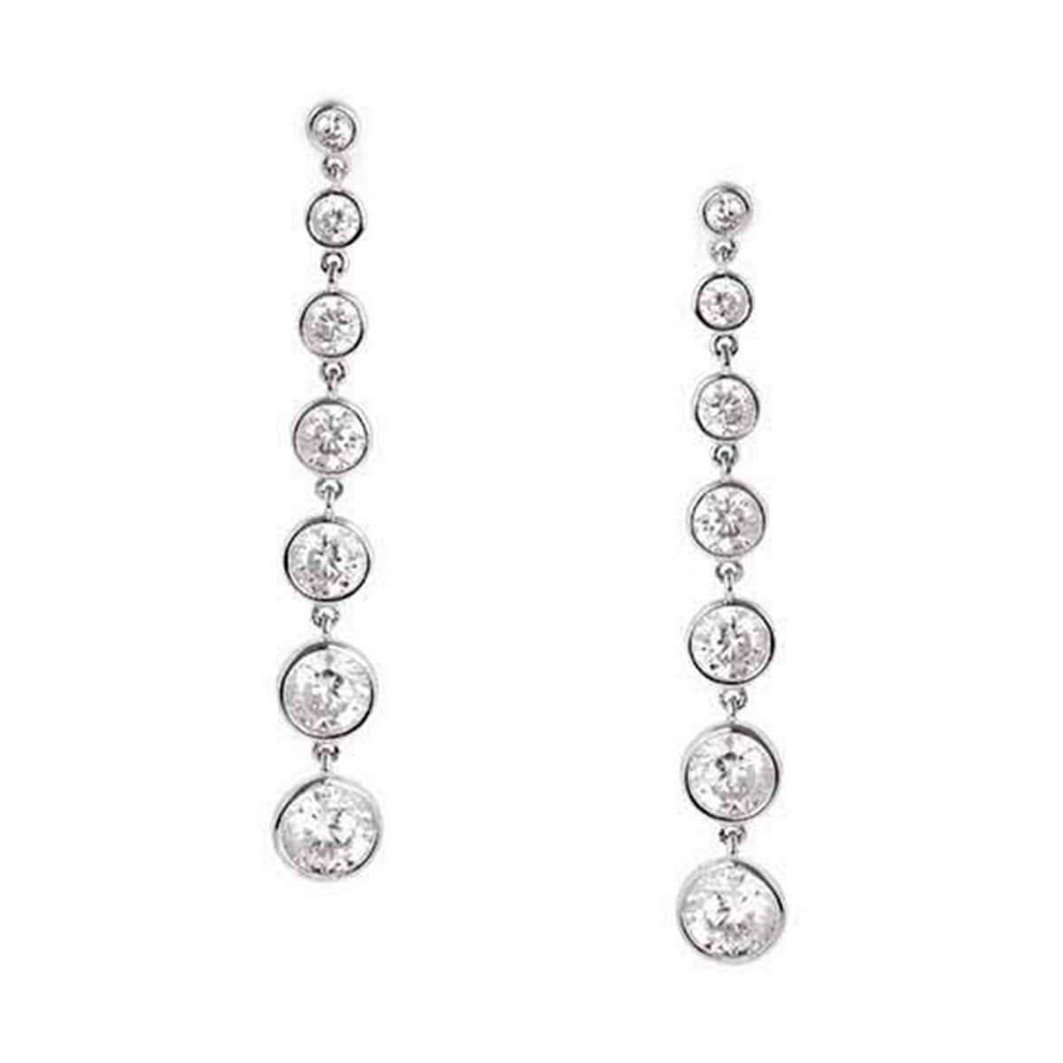 Crislu Jewelry CRISLU Bezel Set 2.9 Carat Drop Earrings Finished in Pure Platinum