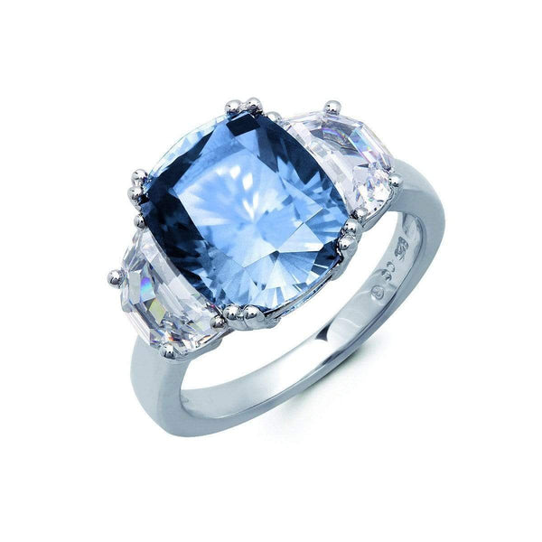 Crislu Jewelry CRISLU Blue Quartz Cocktail Ring With Cushion & Half-Moon Stones - Size 8