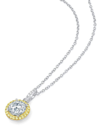 Crislu Jewelry CRISLU Brilliant Cut Fiore Canary Halo Pendant