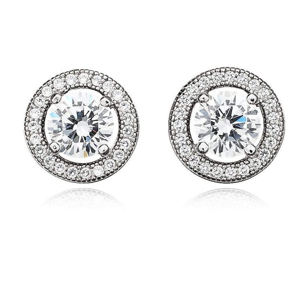 Crislu Jewelry CRISLU Brilliant Cut Halo Earrings Finished in Pure Platinum