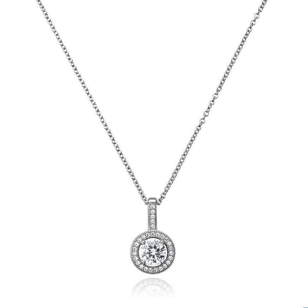 Crislu Jewelry CRISLU Brilliant Cut Halo Pendant Finished in Pure Platinum