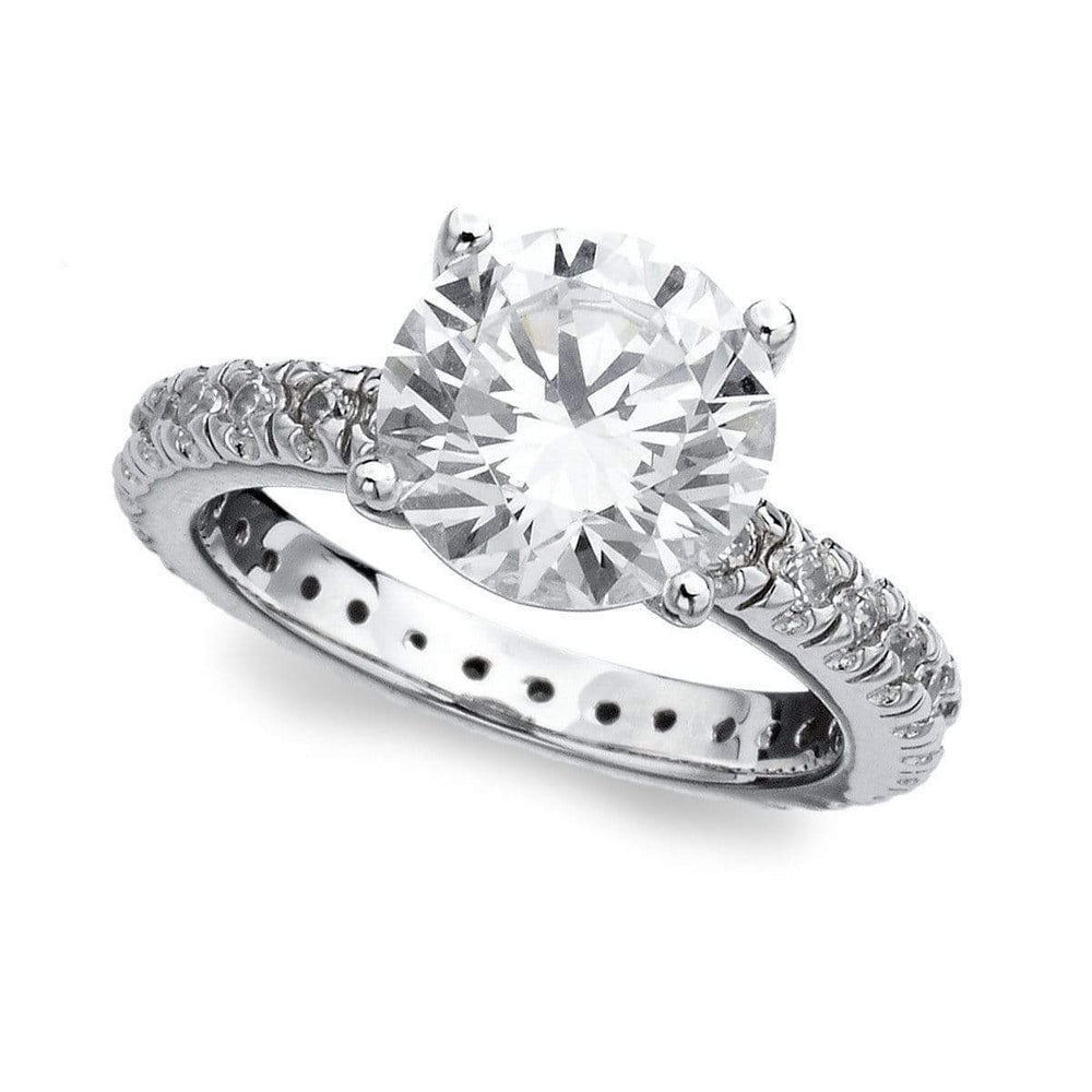 Crislu Jewelry CRISLU Classic Brilliant Solitaire Ring With Pave Band - Size 8