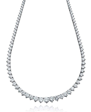 Crislu Jewelry CRISLU Classic Graduated Tennis Necklace Finished in Pure Platinum - 18""