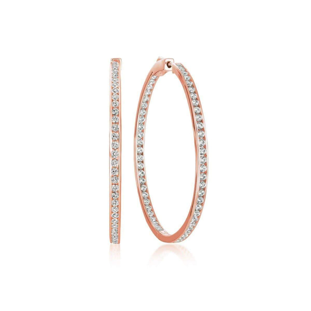 Crislu Jewelry CRISLU Classic Inside Out Hoop Earrings 1.6 Carat Finished in 18KT Rose Gold