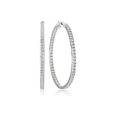 Crislu Jewelry CRISLU Classic Inside Out Hoop Earrings 1.6 Carat Finished in Pure Platinum