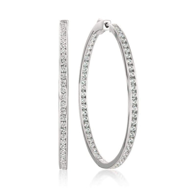 Crislu Jewelry CRISLU Classic Inside Out Hoop Earrings 2.0 Carat Finished in Pure Platinum