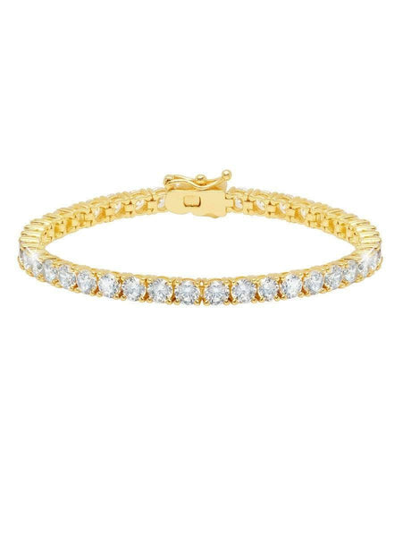 Crislu Jewelry CRISLU Classic Large Brilliant Tennis Bracelet Finished in 18KT Gold - Size 7
