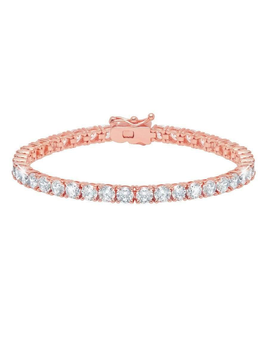 Crislu Jewelry CRISLU Classic Large Brilliant Tennis Bracelet Finished in 18KT Rose Gold - Size 7.5