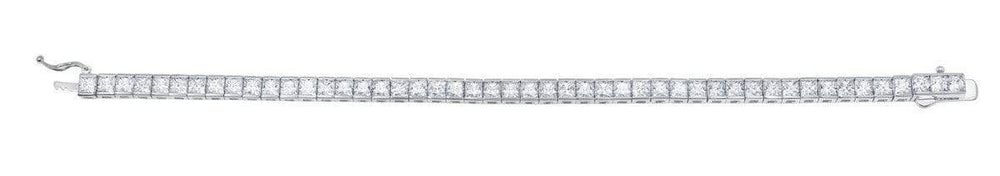 Crislu Jewelry CRISLU Classic Large Princess Tennis Bracelet Finished in Pure Platinum - Size 7