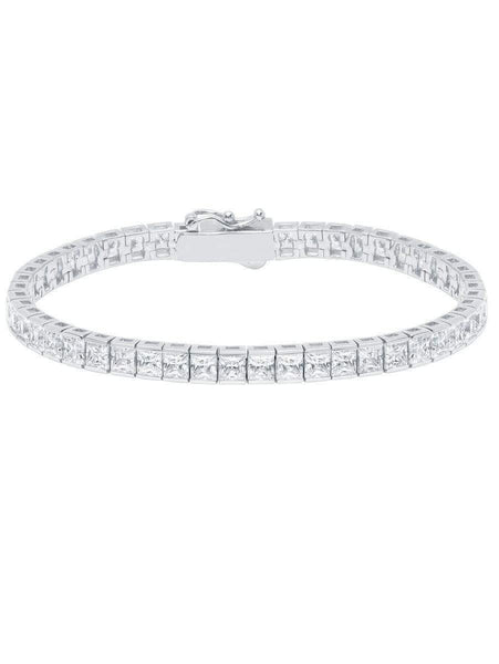 Crislu Jewelry CRISLU Classic Large Princess Tennis Bracelet Finished in Pure Platinum - Size 7.5