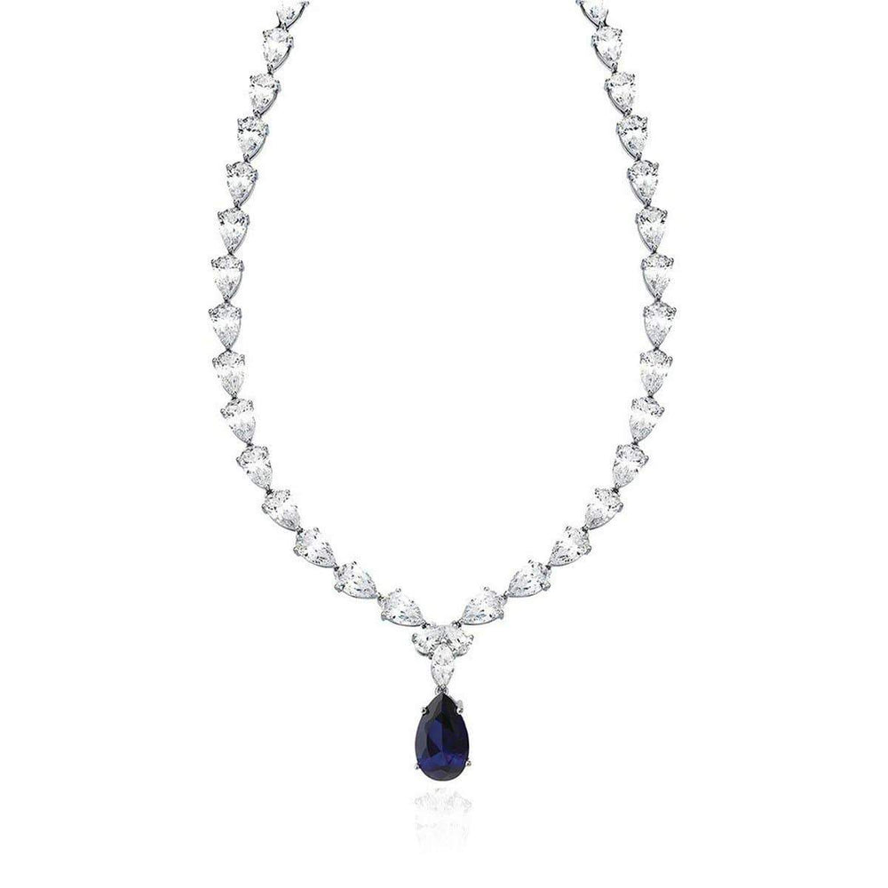 Crislu Jewelry CRISLU Classic Pear Tennis Necklace With Sapphire - 16""
