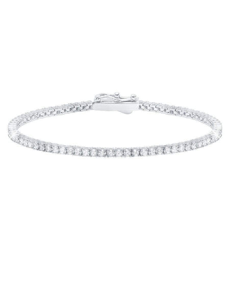 Crislu Jewelry CRISLU Classic Small Brilliant Tennis Bracelet Finished in Pure Platinum - Size 7.5