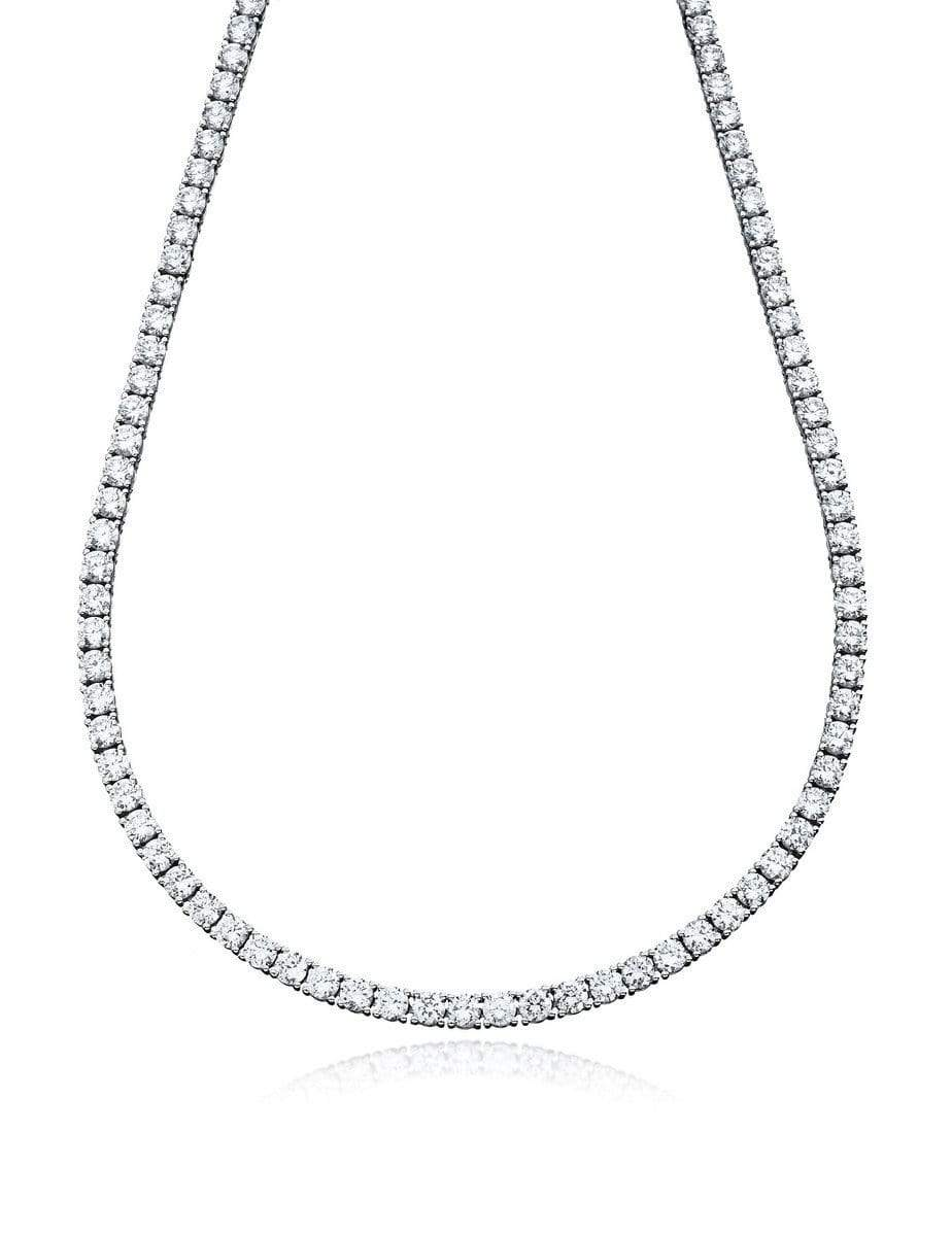 Crislu Jewelry CRISLU Classic Tennis Necklace Finished in Pure Platinum - 16""