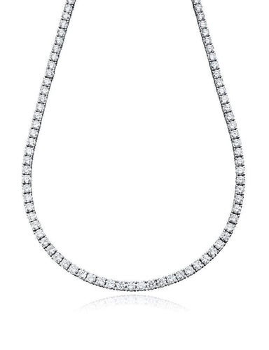 Crislu Jewelry CRISLU Classic Tennis Necklace Finished in Pure Platinum - 18""