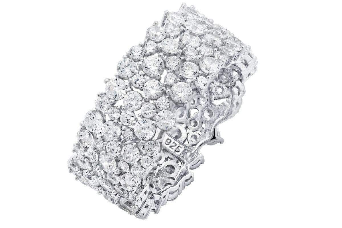 Crislu Jewelry CRISLU Cluster Large Eternity Ring Finished in Pure Platinum - Size 8