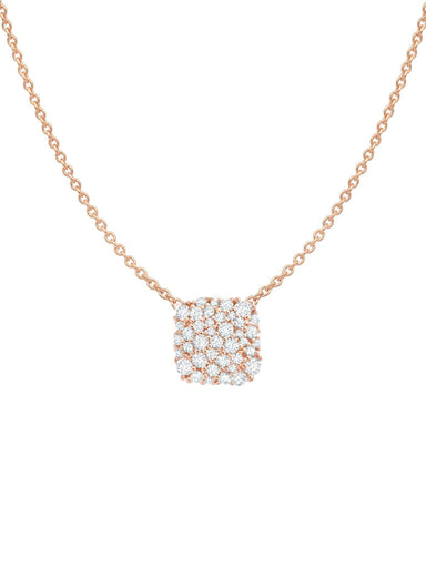 Crislu Jewelry Crislu Cushion Cut Glisten Necklace finished in 18kt Rose Gold