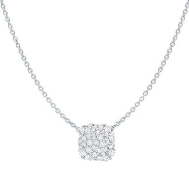 Crislu Jewelry Crislu Cushion Cut Glisten Necklace finished in Pure Platinum