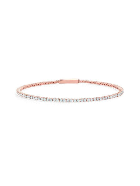 Crislu Jewelry CRISLU Flex Tennis Bracelet Finished in 18KT Rose Gold