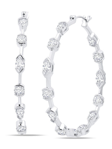 Crislu Jewelry Crislu Lavish Cubic Zirconia Hoop Earrings Finished in Pure Platinum