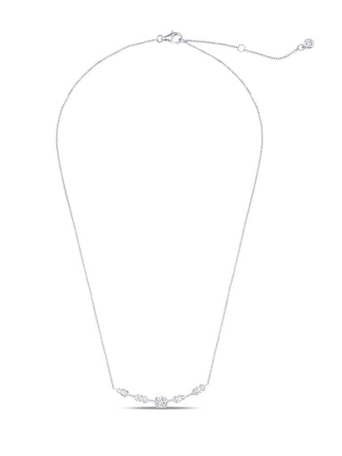 Crislu Jewelry Crislu Lavish Split Bezel CZ Necklace Finished in Pure Platinum