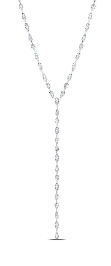 Crislu Jewelry Crislu Lavish Y-Shaped CZ Necklace Finished in Pure Platinum