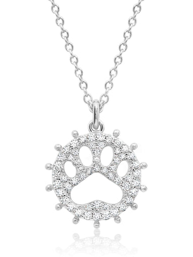 Crislu Jewelry Crislu Motif Paw Print Pendant Necklace finished in Pure Platinum
