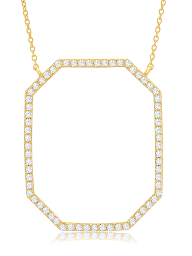 Crislu Jewelry Crislu Open Octagon Pave Necklace In 18KT Yellow Gold