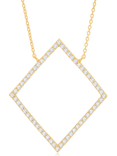 Crislu Jewelry Crislu Open Pave Diamond Necklace In 18KT Yellow Gold