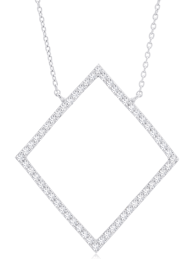 Crislu Jewelry Crislu Open Pave Diamond Necklace In Pure Platinum
