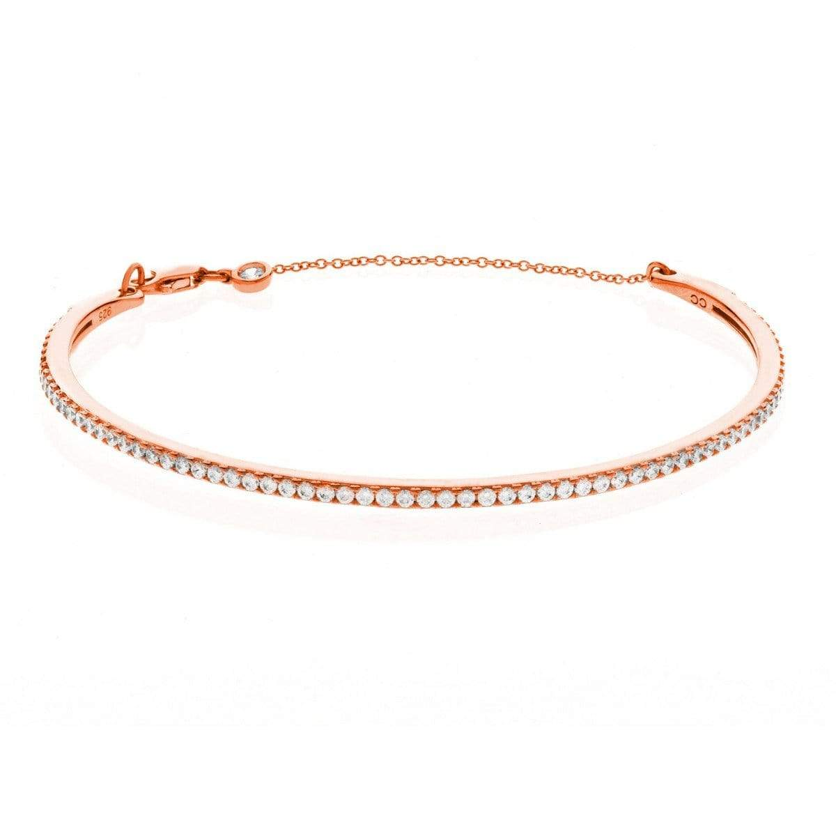 Crislu Jewelry CRISLU Pave Chain Bangle Finished in 18KT Rose Gold