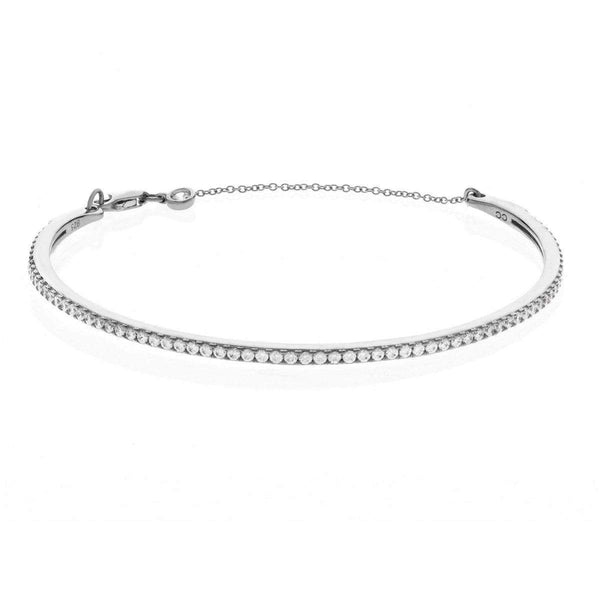 Crislu Jewelry CRISLU Pave Chain Bangle Finished in Pure Platinum