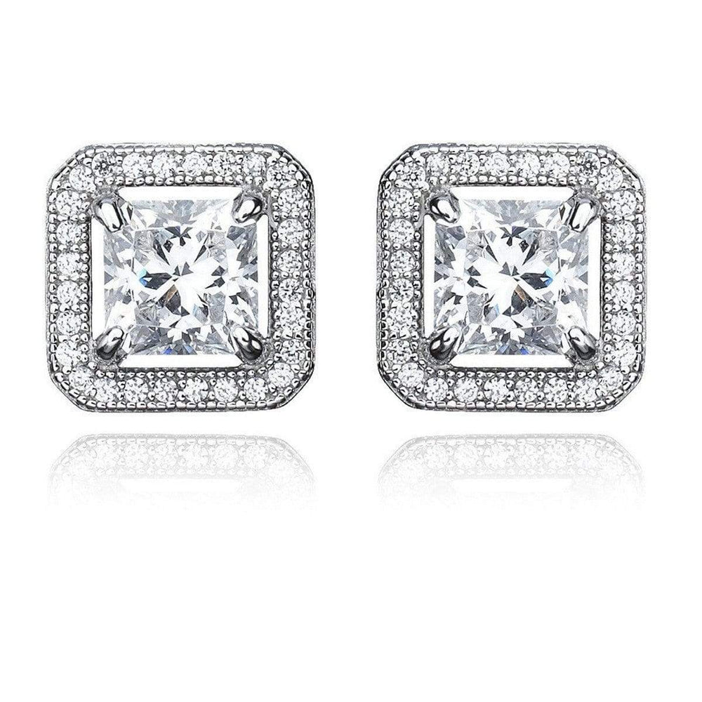 Crislu Jewelry CRISLU Princess Cut 3.0 Carat Earrings With Halo Finished in Pure Platinum
