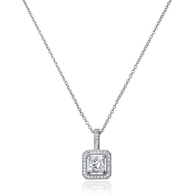 Crislu Jewelry CRISLU Princess Cut Pendant With Halo Finished in Pure Platinum